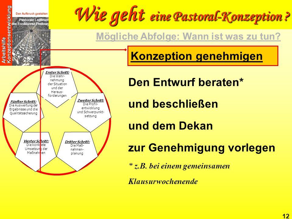 Den Aufbruch gestalten Pastorale Leitlinien der Erzdiözese Freiburg Arbeitshilfe Konzeptionsentwicklung 12 Den Entwurf beraten* und beschließen und de