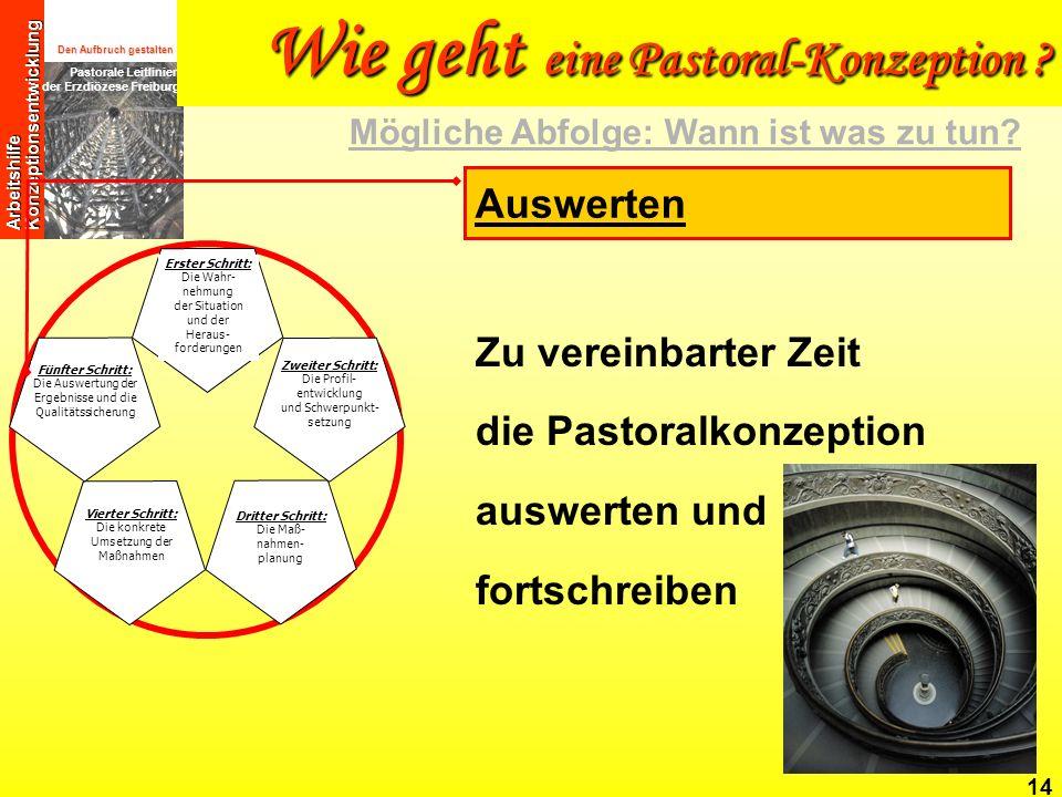 Den Aufbruch gestalten Pastorale Leitlinien der Erzdiözese Freiburg Arbeitshilfe Konzeptionsentwicklung 14 Zu vereinbarter Zeit die Pastoralkonzeption