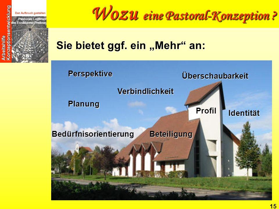 Den Aufbruch gestalten Pastorale Leitlinien der Erzdiözese Freiburg Arbeitshilfe Konzeptionsentwicklung 15 Perspektive BedürfnisorientierungBeteiligun