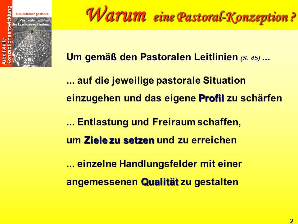 Den Aufbruch gestalten Pastorale Leitlinien der Erzdiözese Freiburg Arbeitshilfe Konzeptionsentwicklung JesusChristus Sammlung Berufung Sendung 3 Sie beantwortet Ihnen und anderen: Wer sind wir.