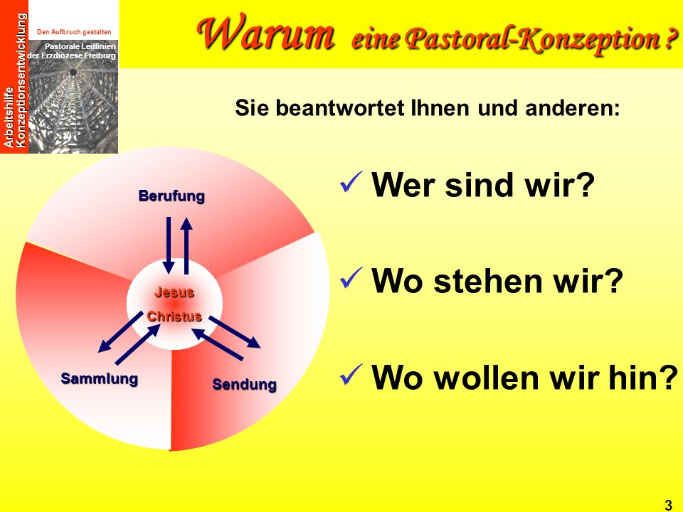 Den Aufbruch gestalten Pastorale Leitlinien der Erzdiözese Freiburg Arbeitshilfe Konzeptionsentwicklung 14 Zu vereinbarter Zeit die Pastoralkonzeption auswerten und fortschreiben Wie geht eine Pastoral-Konzeption .