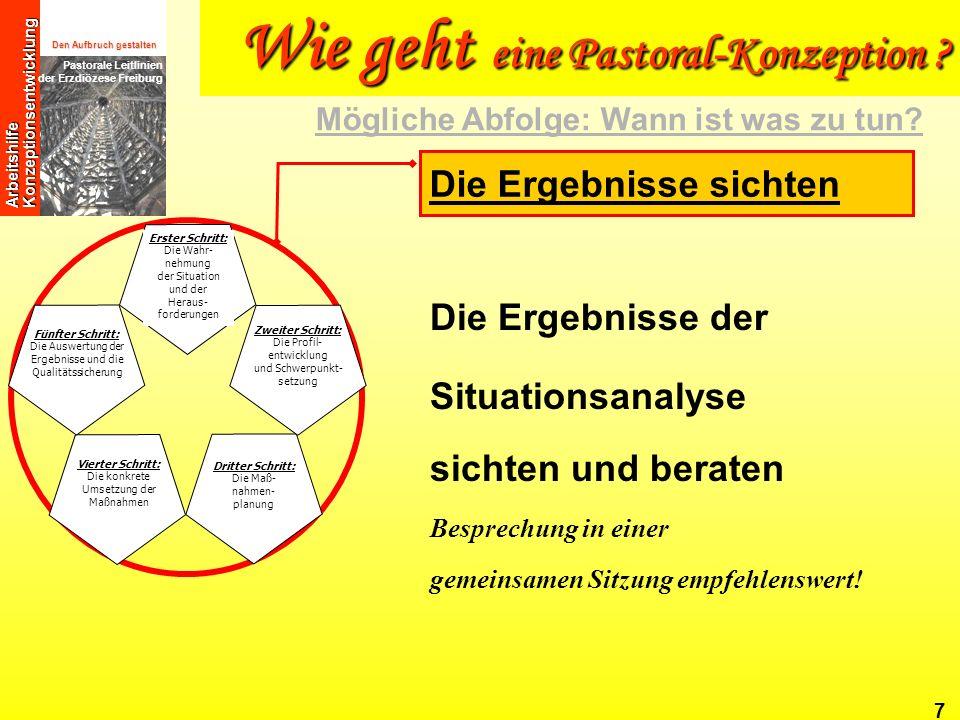 Den Aufbruch gestalten Pastorale Leitlinien der Erzdiözese Freiburg Arbeitshilfe Konzeptionsentwicklung 7 Die Ergebnisse der Situationsanalyse sichten