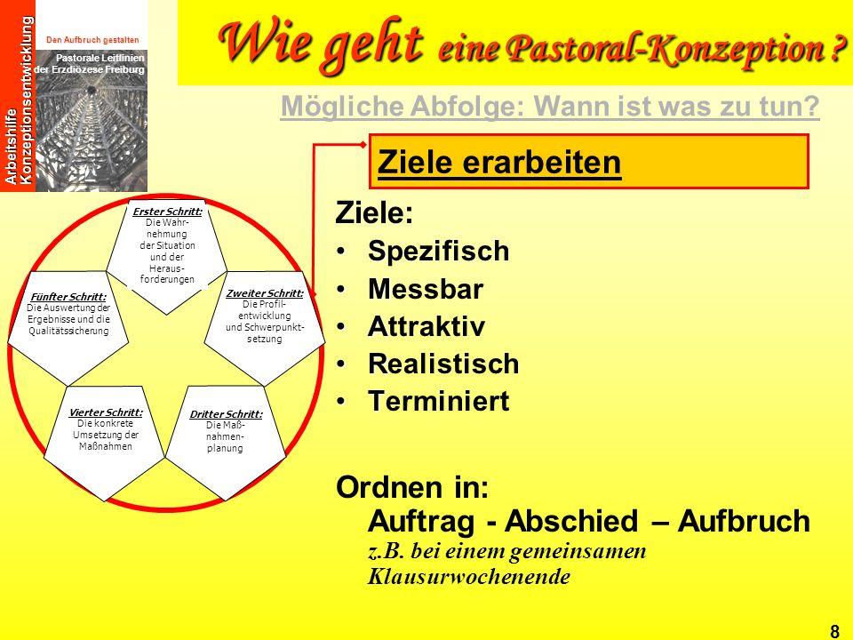 Den Aufbruch gestalten Pastorale Leitlinien der Erzdiözese Freiburg Arbeitshilfe Konzeptionsentwicklung 8 Ziele: SSpezifisch MMessbar AAttraktiv RReal