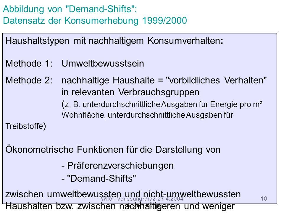 Wifo - Vorlesung Graz, 27.4.2004 - Angela Köppl 9 Wie kommt man zu nachhaltigen Strukturen.