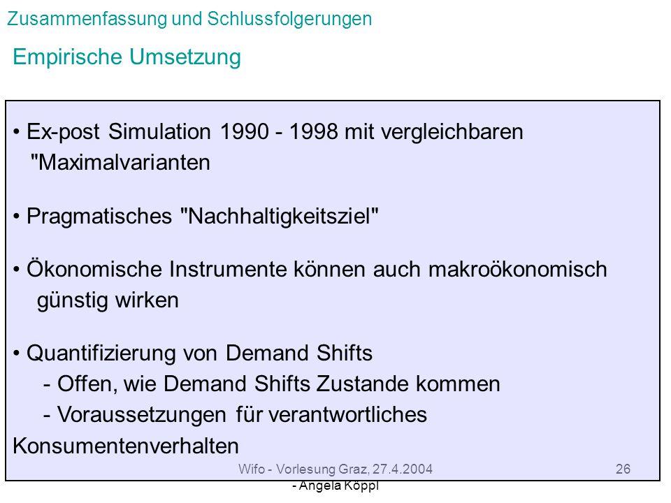 Wifo - Vorlesung Graz, 27.4.2004 - Angela Köppl 25 Zusammenfassung und Schlussfolgerungen Simulationsbeziehungen zwischen Stocks & Flows für nach- haltige Konsumstruktur bei gleichem Wohlstandsniveau Relevanz der erzielbaren Konsumdienstleistungen zentral ist der Mix aus Stocks & Flows Mix wird bestimmt durch Präferenzen bzw.
