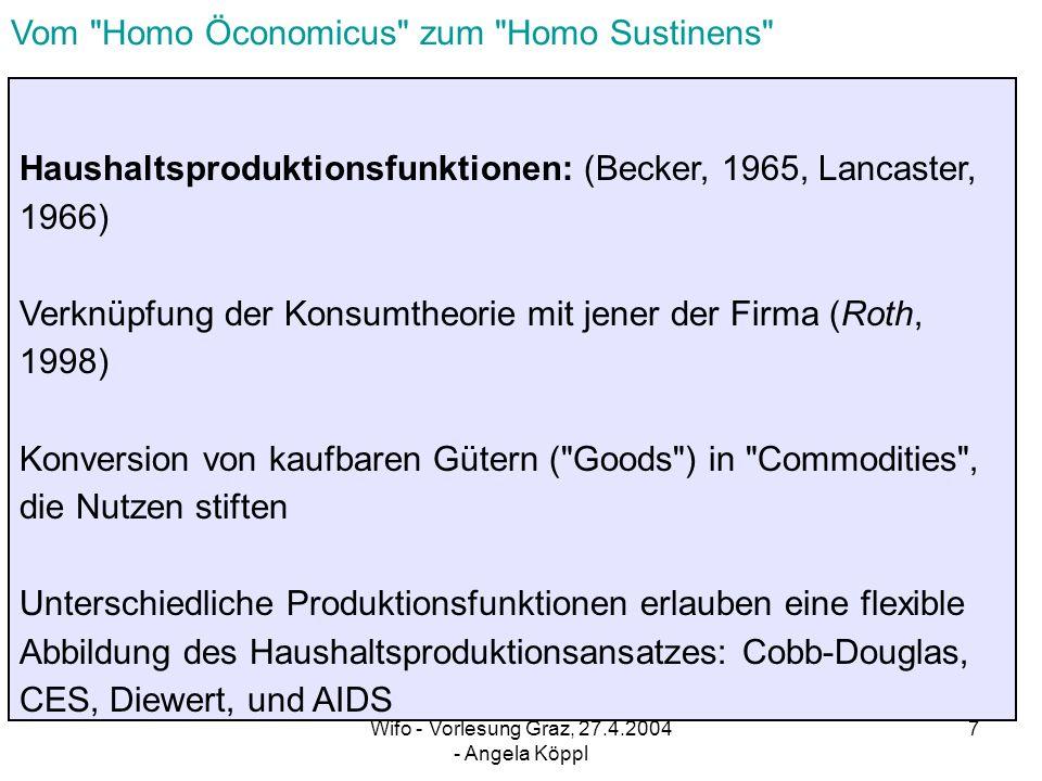 Wifo - Vorlesung Graz, 27.4.2004 - Angela Köppl 6 Conrad – Schröder ( 1991 ) integrierte Betrachtung der Nachfrage nach dauerhaften und nichtdauerhaften Konsumgütern Explizite Modellierung der Stock-Flow – Beziehung ( Anpassungskosten beim Stock, Folgekosten von Stocks Kostenpreise ) Nachhaltiges Konsumverhalten betrifft: 1) Stockentscheidung ( z.B.