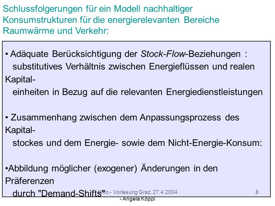Wifo - Vorlesung Graz, 27.4.2004 - Angela Köppl 7 Haushaltsproduktionsfunktionen: (Becker, 1965, Lancaster, 1966) Verknüpfung der Konsumtheorie mit je