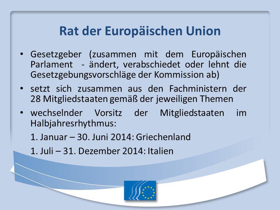 Rat der Europäischen Union Gesetzgeber (zusammen mit dem Europäischen Parlament - ändert, verabschiedet oder lehnt die Gesetzgebungsvorschläge der Kom