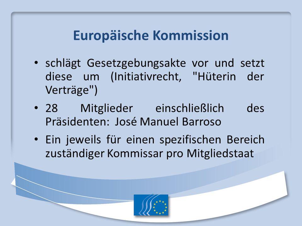 Europäische Kommission schlägt Gesetzgebungsakte vor und setzt diese um (Initiativrecht,