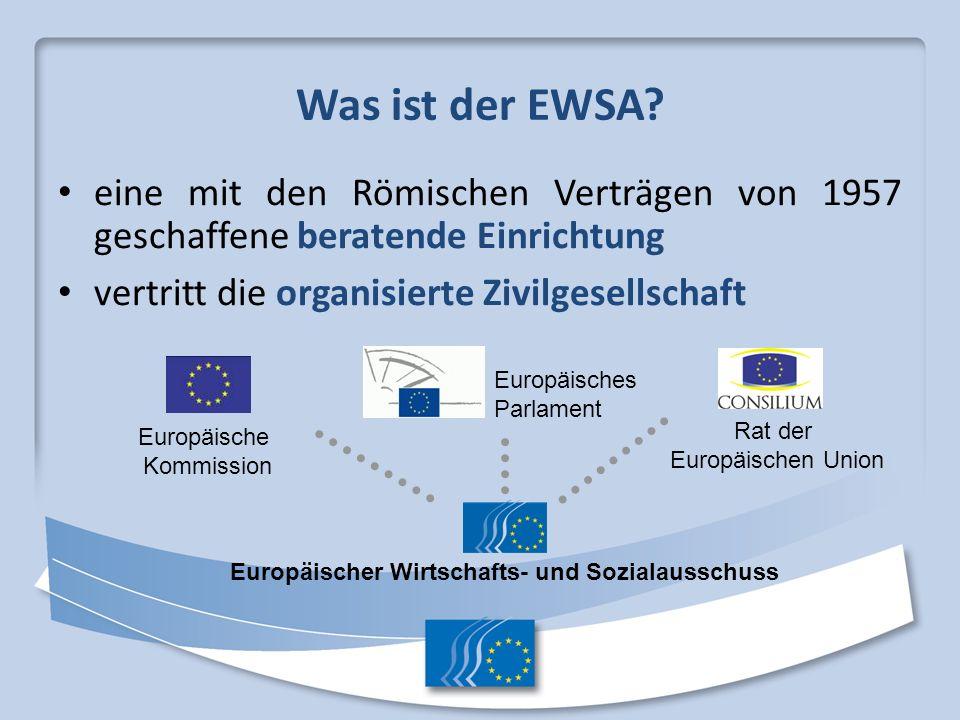 Was ist der EWSA? eine mit den Römischen Verträgen von 1957 geschaffene beratende Einrichtung vertritt die organisierte Zivilgesellschaft Europäisches