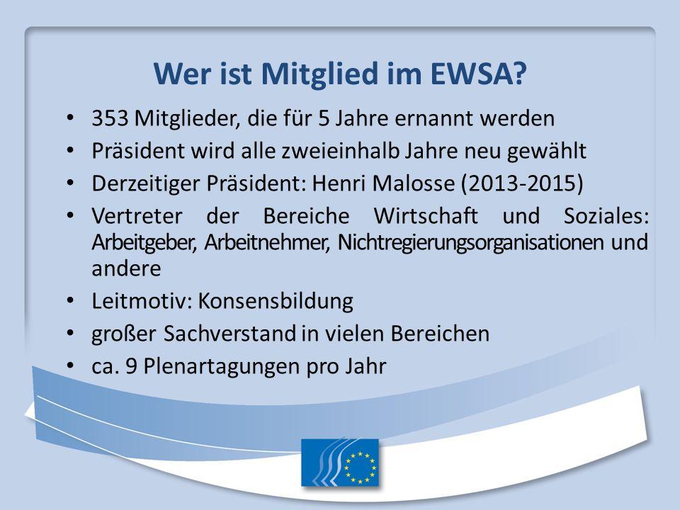 Wer ist Mitglied im EWSA? 353 Mitglieder, die für 5 Jahre ernannt werden Präsident wird alle zweieinhalb Jahre neu gewählt Derzeitiger Präsident: Henr