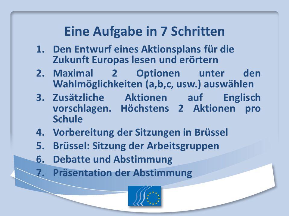 Eine Aufgabe in 7 Schritten 1.Den Entwurf eines Aktionsplans für die Zukunft Europas lesen und erörtern 2.Maximal 2 Optionen unter den Wahlmöglichkeit