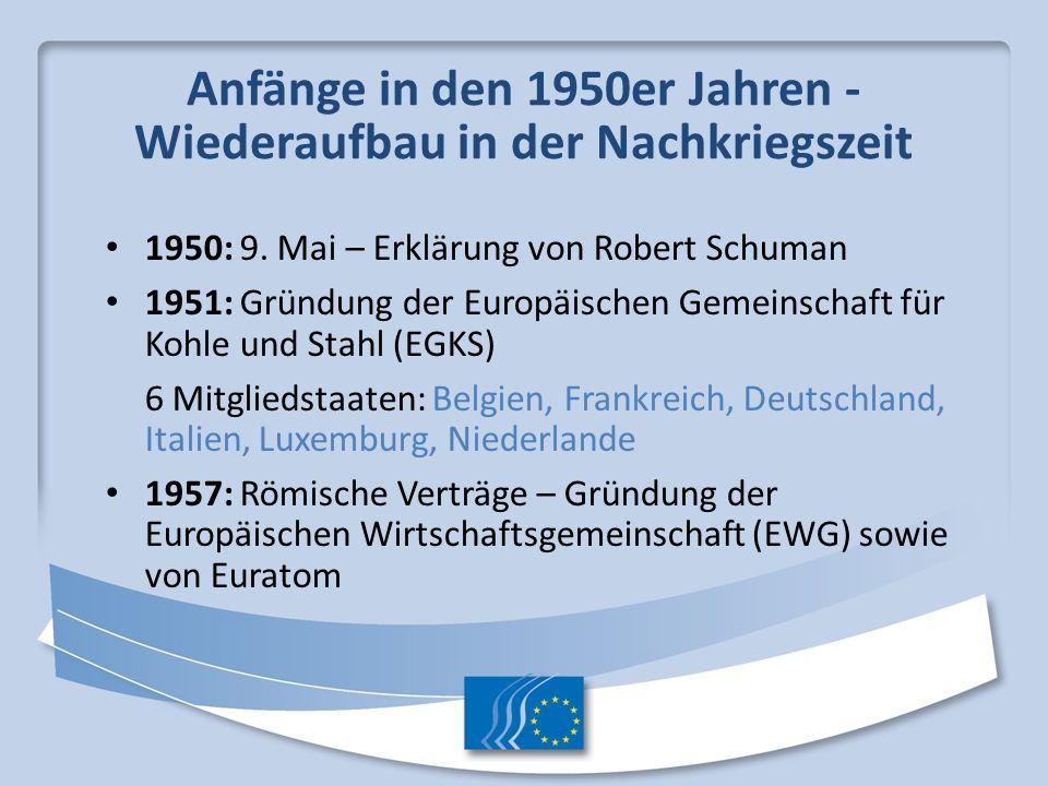 Anfänge in den 1950er Jahren - Wiederaufbau in der Nachkriegszeit 1950: 9. Mai – Erklärung von Robert Schuman 1951: Gründung der Europäischen Gemeinsc