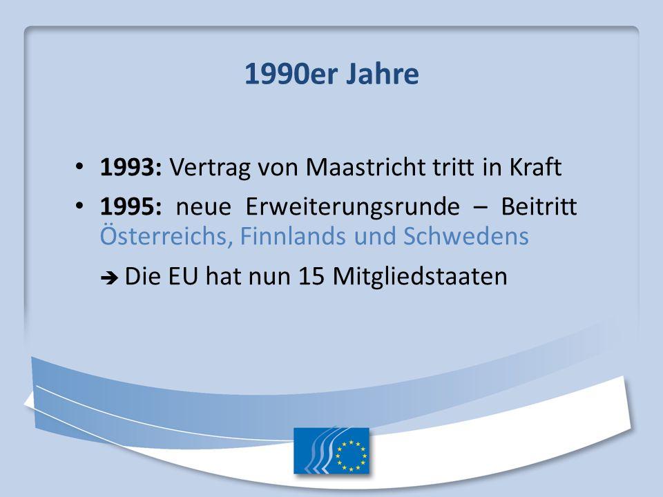1990er Jahre 1993: Vertrag von Maastricht tritt in Kraft 1995: neue Erweiterungsrunde – Beitritt Österreichs, Finnlands und Schwedens Die EU hat nun 1