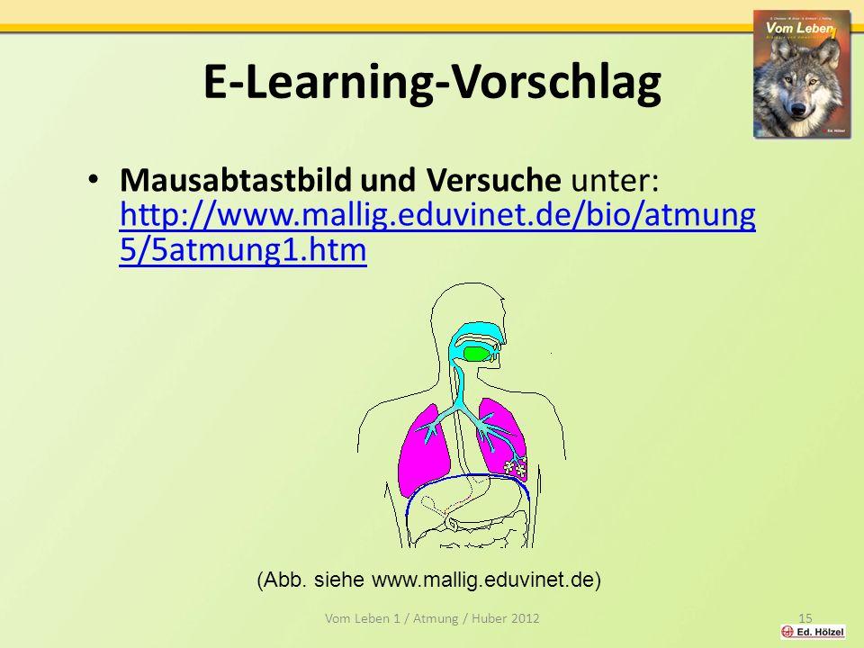 E-Learning-Vorschlag Mausabtastbild und Versuche unter: http://www.mallig.eduvinet.de/bio/atmung 5/5atmung1.htm http://www.mallig.eduvinet.de/bio/atmung 5/5atmung1.htm Vom Leben 1 / Atmung / Huber 201215 (Abb.