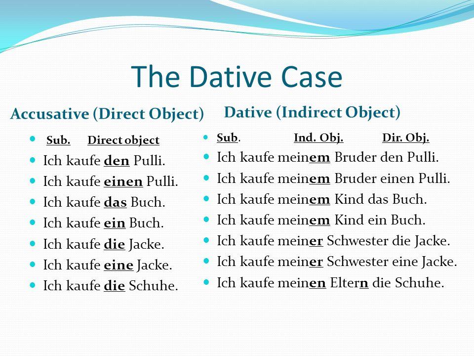 The Dative Case Personal Pronouns NominativeAccusativeDative ich (I)mich (me)mir (me) du (you)dich (you)dir (you) Sie (you) Ihnen (you) er (he/it)ihn (him/it)ihm (him) sie (she/it)sie (her/it)ihr (her) es (it) ihm (him) wir (we)uns (us) ihr (you)euch (you) sie (they)sie (them)ihnen (them)