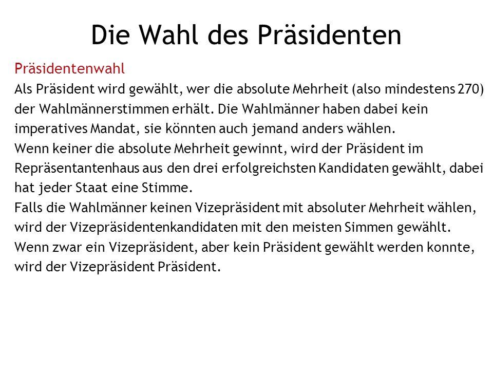 Die Wahl des Präsidenten Zeitplan Präsidentenwahlen finden in allen durch 4 teilbaren Jahren statt.