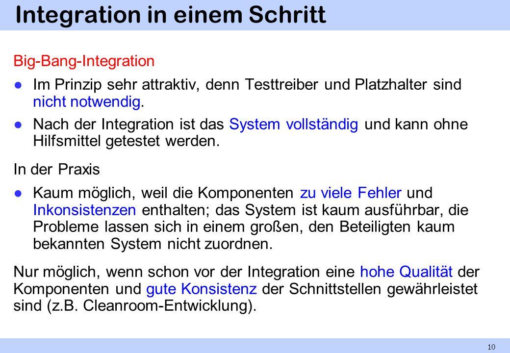 Inkrementelle Integration Die Komponenten einer Integrationsebene werden einzeln oder in kleinen Gruppen integriert.
