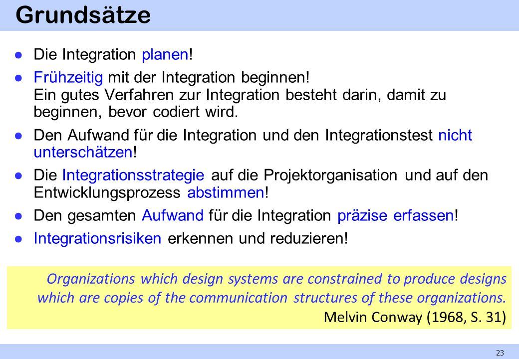 Grundsätze Die Integration planen! Frühzeitig mit der Integration beginnen! Ein gutes Verfahren zur Integration besteht darin, damit zu beginnen, bevo