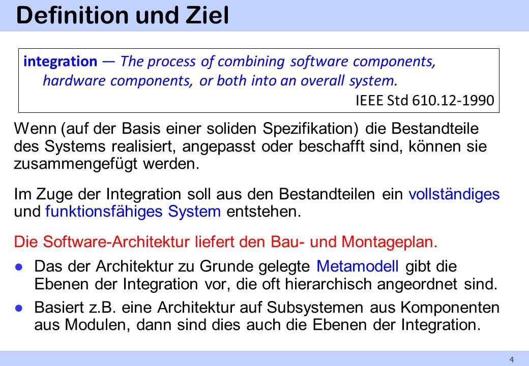 Teilintegriertes System Solange das System noch nicht vollständig integriert ist, wird das Ergebnis jedes Integrationsschritts als teilintegriertes System bezeichnet.