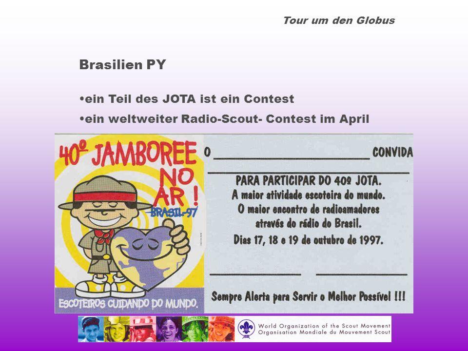Tour um den Globus Brasilien PY ein Teil des JOTA ist ein Contest ein weltweiter Radio-Scout- Contest im April