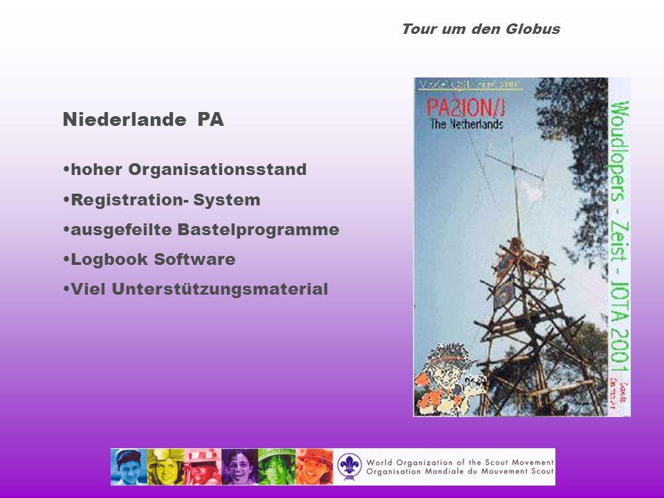 Tour um den Globus Niederlande PA hoher Organisationsstand Registration- System ausgefeilte Bastelprogramme Logbook Software Viel Unterstützungsmaterial
