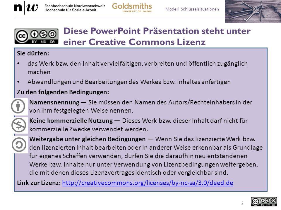Modell Schlüsselsituationen Diese PowerPoint Präsentation steht unter einer Creative Commons Lizenz Sie dürfen: das Werk bzw. den Inhalt vervielfältig