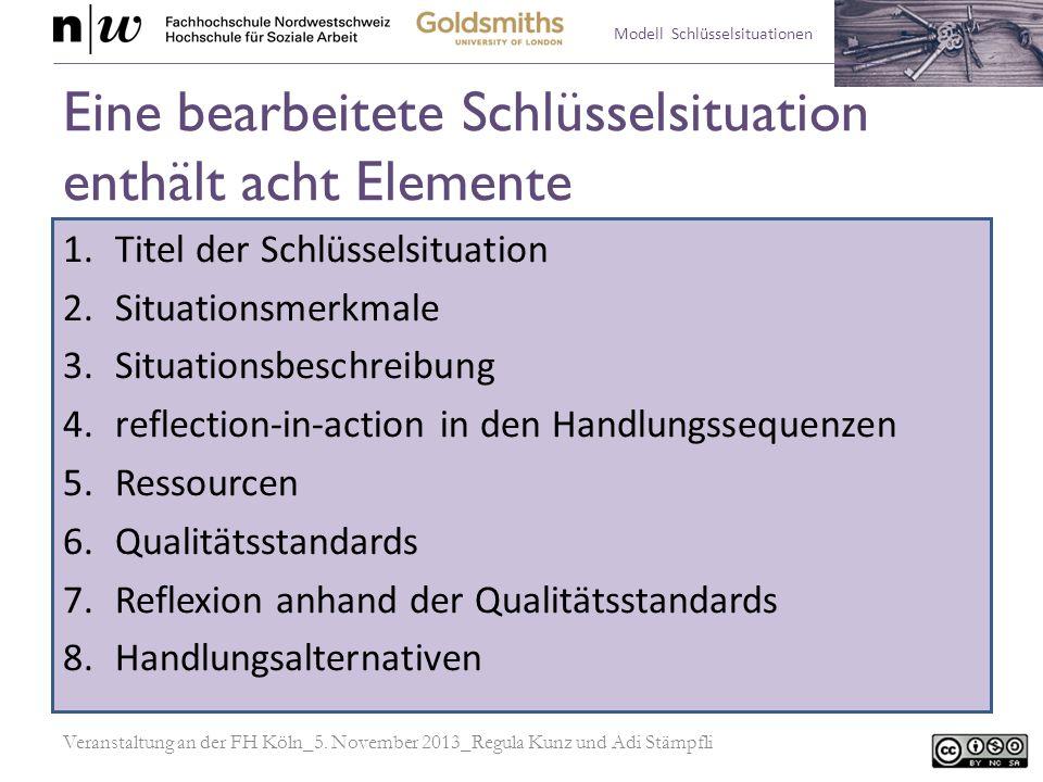 Modell Schlüsselsituationen Eine bearbeitete Schlüsselsituation enthält acht Elemente 1.Titel der Schlüsselsituation 2.Situationsmerkmale 3.Situations