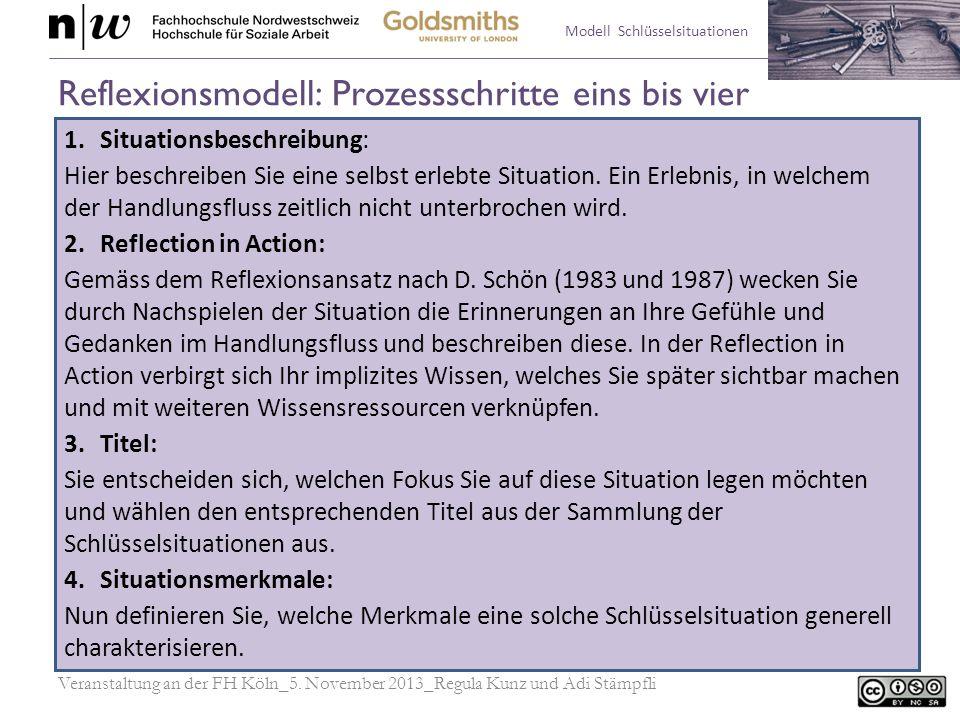 Modell Schlüsselsituationen Reflexionsmodell: Prozessschritte eins bis vier 1.Situationsbeschreibung: Hier beschreiben Sie eine selbst erlebte Situati