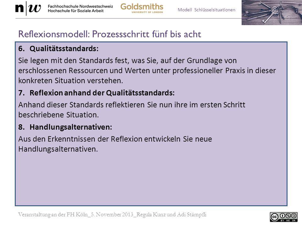 Modell Schlüsselsituationen Reflexionsmodell: Prozessschritt fünf bis acht 6.Qualitätsstandards: Sie legen mit den Standards fest, was Sie, auf der Gr