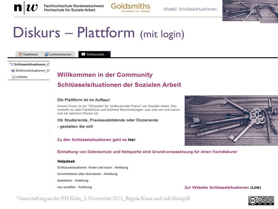 Modell Schlüsselsituationen Veranstaltung an der FH Köln_5. November 2013_Regula Kunz und Adi Stämpfli Diskurs – Plattform (mit login)