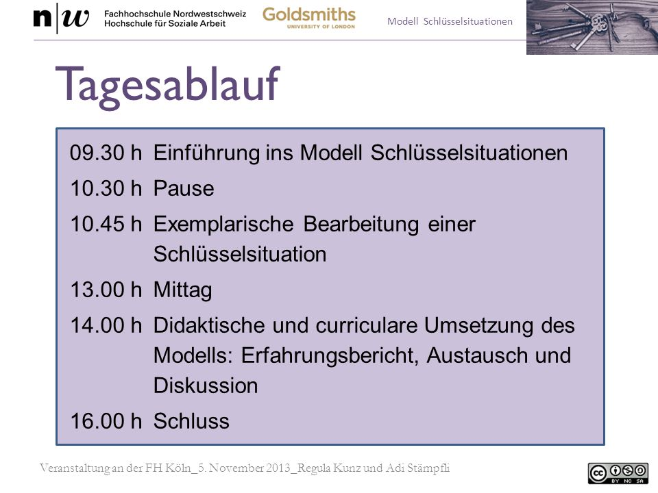 Modell Schlüsselsituationen 1.Relationierung von Theorie und Praxis 2.Modell Schlüsselsituationen a.Arbeit mit Schlüsselsituationen b.Diskurs über Schlüsselsituationen Einführung ins Modell Veranstaltung an der FH Köln_5.