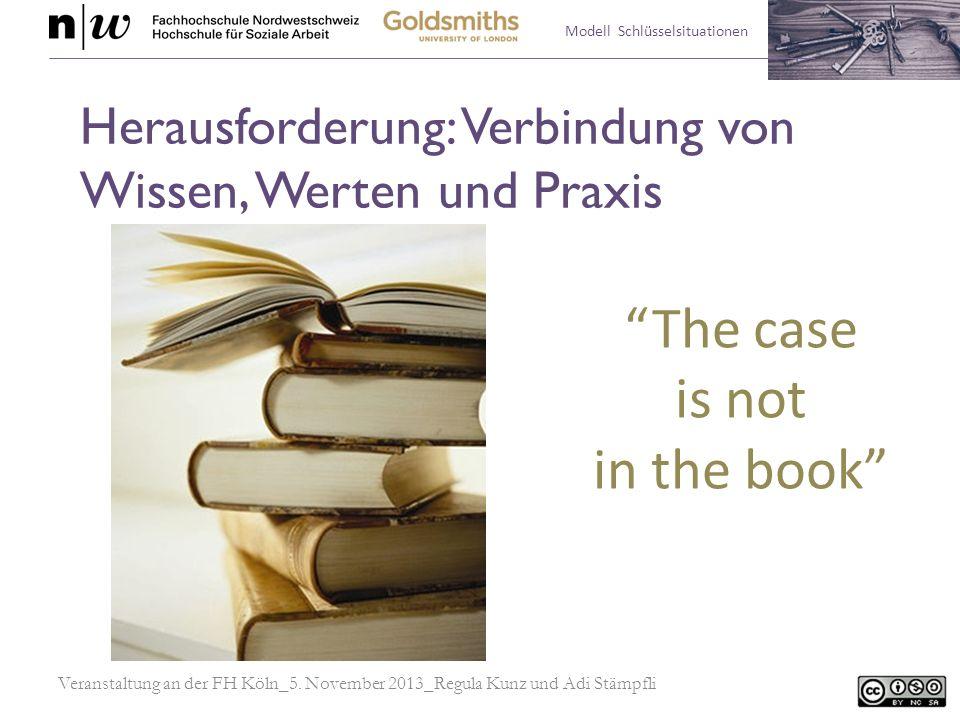 Modell Schlüsselsituationen Herausforderung: Verbindung von Wissen, Werten und Praxis Veranstaltung an der FH Köln_5. November 2013_Regula Kunz und Ad