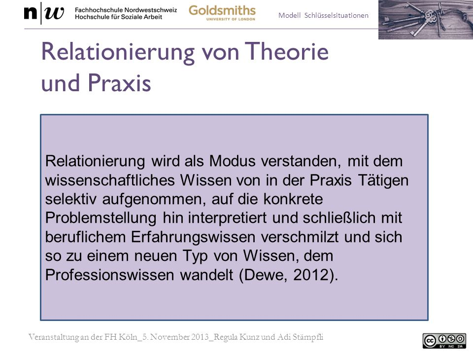 Modell Schlüsselsituationen Relationierung wird als Modus verstanden, mit dem wissenschaftliches Wissen von in der Praxis Tätigen selektiv aufgenommen