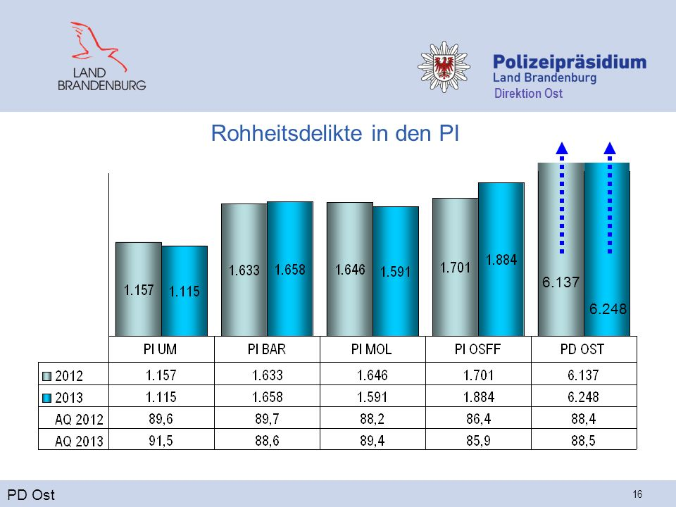 Direktion Ost 16 Rohheitsdelikte in den PI PD Ost 6.137 6.248