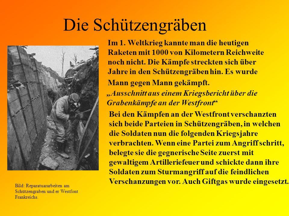 Die Waffen Im ersten Weltkrieg wurden: Gewehre, Artilleriekannonen, Granaten, Bajonette, Giftgas und auch erstmals und als Waffen verwendet.