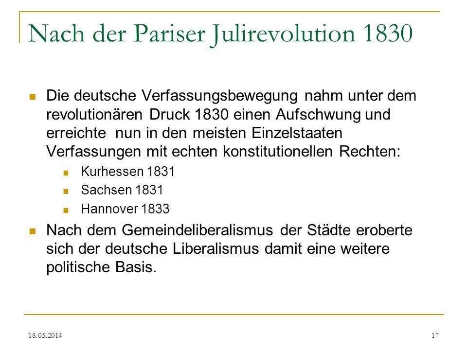 Nach der Pariser Julirevolution 1830 Die deutsche Verfassungsbewegung nahm unter dem revolutionären Druck 1830 einen Aufschwung und erreichte nun in d