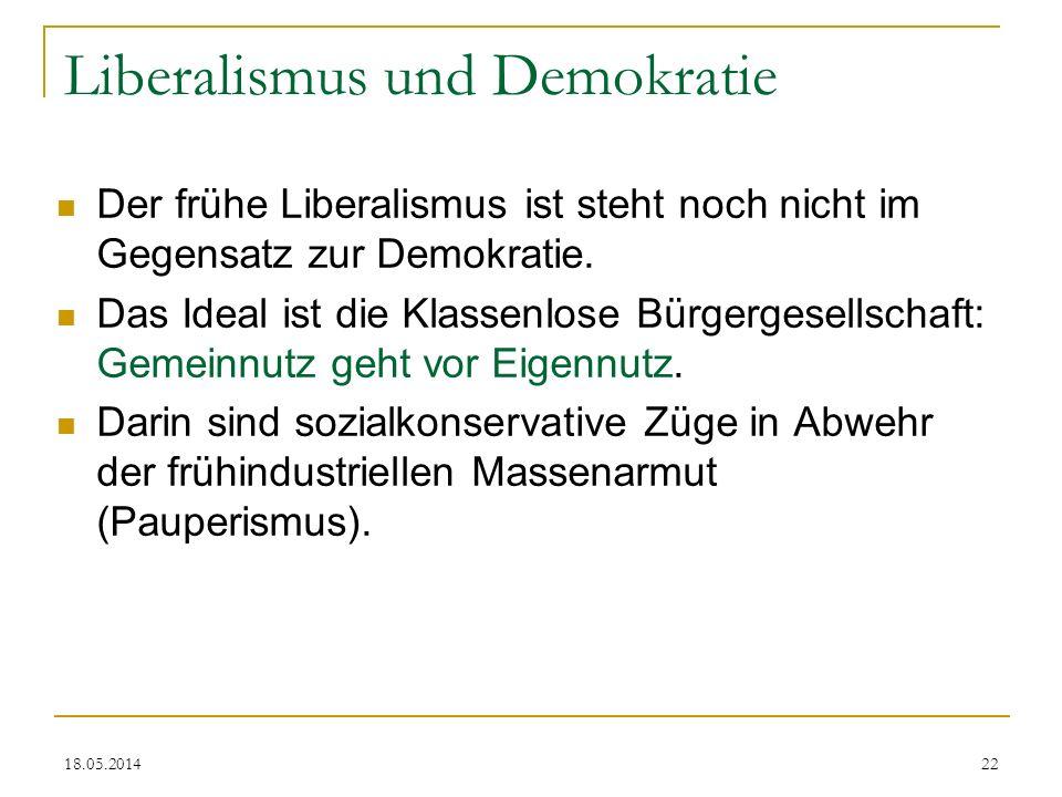 18.05.2014 Liberalismus und Demokratie Der frühe Liberalismus ist steht noch nicht im Gegensatz zur Demokratie. Das Ideal ist die Klassenlose Bürgerge