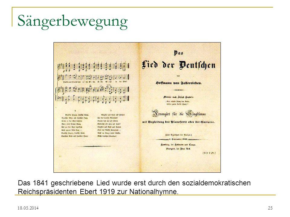 18.05.2014 Sängerbewegung Das 1841 geschriebene Lied wurde erst durch den sozialdemokratischen Reichspräsidenten Ebert 1919 zur Nationalhymne. 25