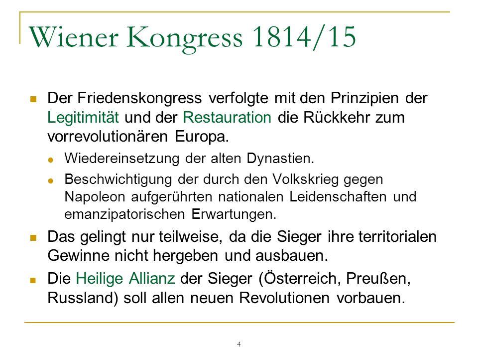 Wiener Kongress 1814/15 Der Friedenskongress verfolgte mit den Prinzipien der Legitimität und der Restauration die Rückkehr zum vorrevolutionären Euro