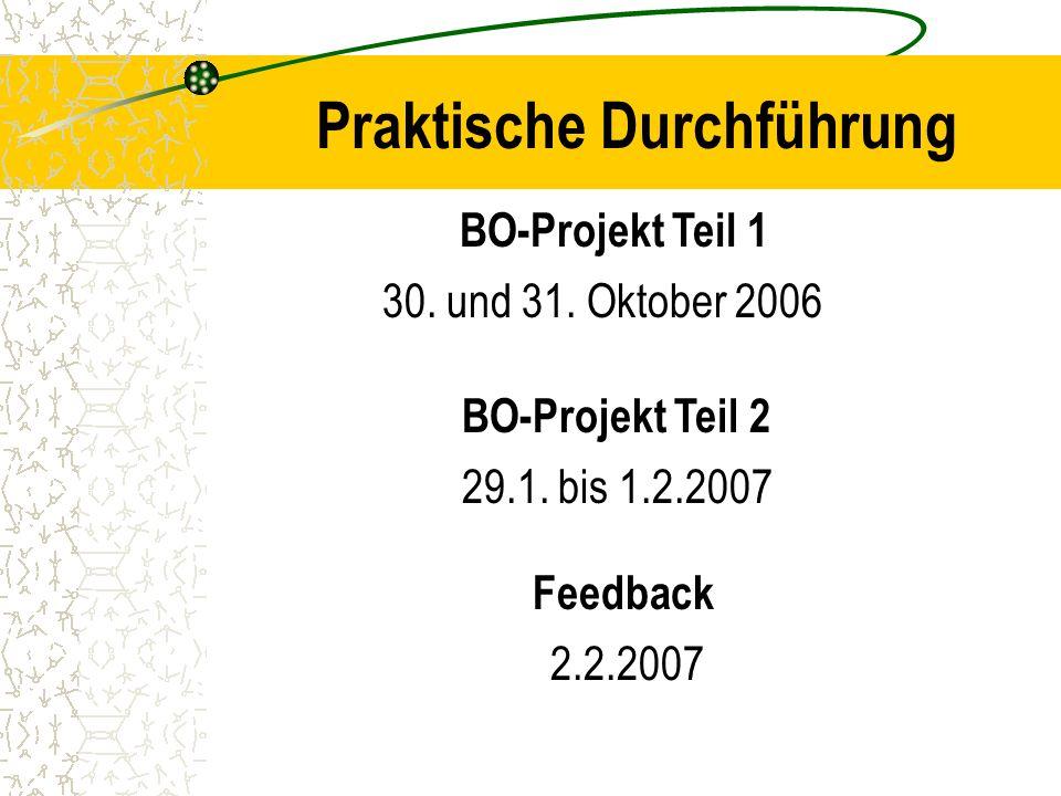 Praktische Durchführung BO-Projekt Teil 1 30. und 31. Oktober 2006 BO-Projekt Teil 2 29.1. bis 1.2.2007 2.2.2007 Feedback