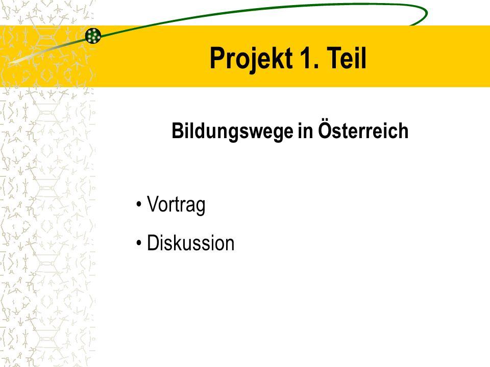 Projekt 1. Teil Bildungswege in Österreich Vortrag Diskussion
