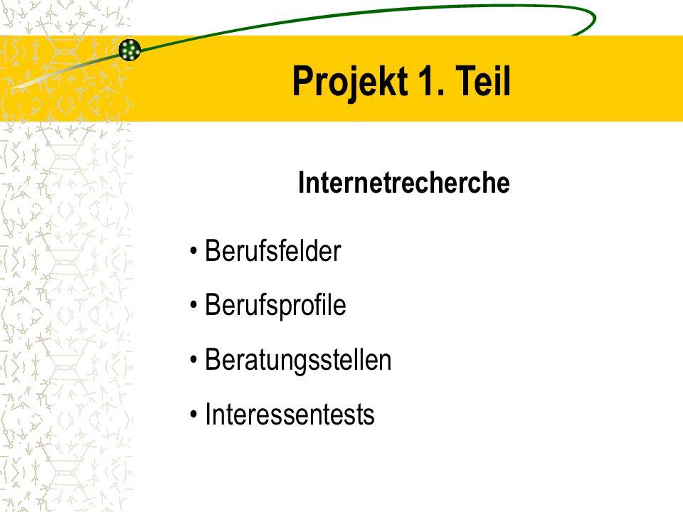 Projekt 1. Teil Internetrecherche Berufsfelder Berufsprofile Beratungsstellen Interessentests