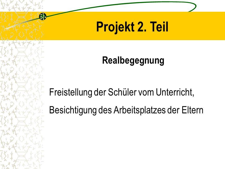 Projekt 2. Teil Realbegegnung Freistellung der Schüler vom Unterricht, Besichtigung des Arbeitsplatzes der Eltern