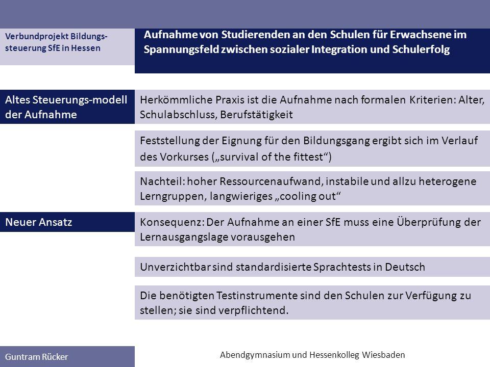 Verbundprojekt Bildungs- steuerung SfE in Hessen Guntram Rücker Altes Steuerungs-modell der Aufnahme Aufnahme von Studierenden an den Schulen für Erwa
