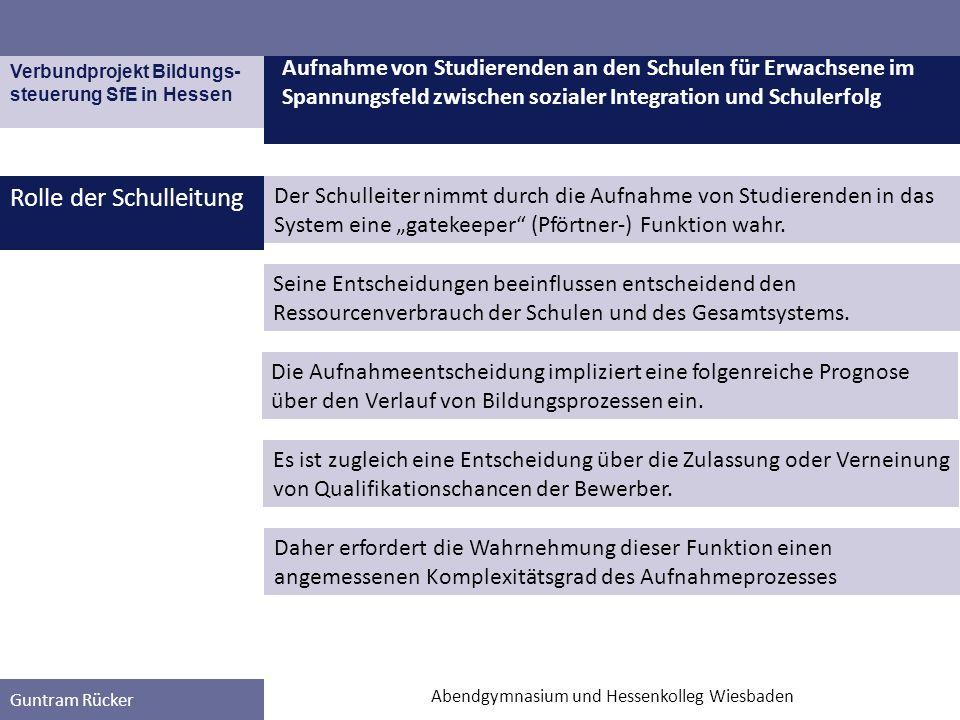 Verbundprojekt Bildungs- steuerung SfE in Hessen Guntram Rücker Rolle der Schulleitung Aufnahme von Studierenden an den Schulen für Erwachsene im Span