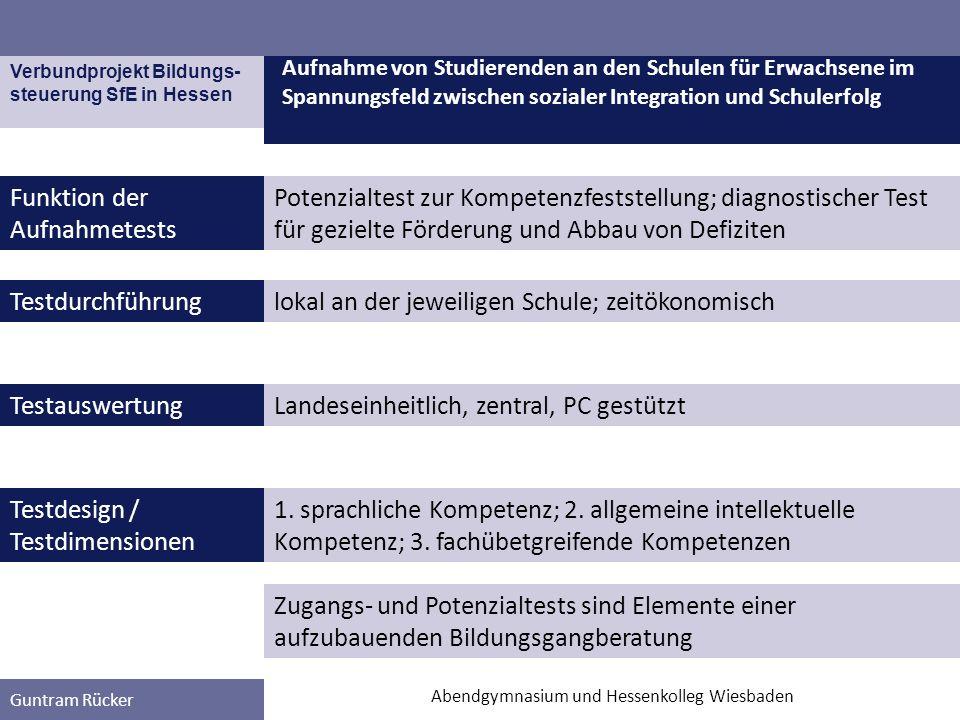 Verbundprojekt Bildungs- steuerung SfE in Hessen Guntram Rücker Funktion der Aufnahmetests Aufnahme von Studierenden an den Schulen für Erwachsene im Spannungsfeld zwischen sozialer Integration und Schulerfolg Abendgymnasium und Hessenkolleg Wiesbaden 1.