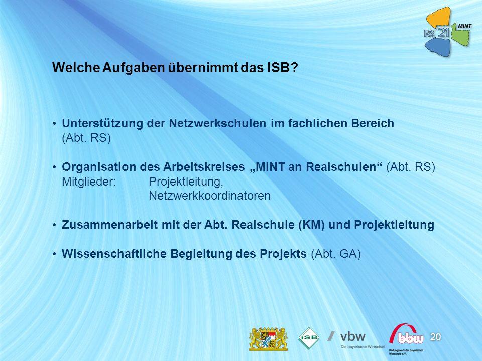 20 Unterstützung der Netzwerkschulen im fachlichen Bereich (Abt. RS) Organisation des Arbeitskreises MINT an Realschulen (Abt. RS) Mitglieder:Projektl