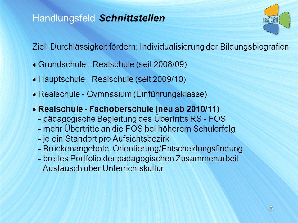 6 Handlungsfeld Schnittstellen Grundschule - Realschule (seit 2008/09) Hauptschule - Realschule (seit 2009/10) Realschule - Gymnasium (Einführungsklas