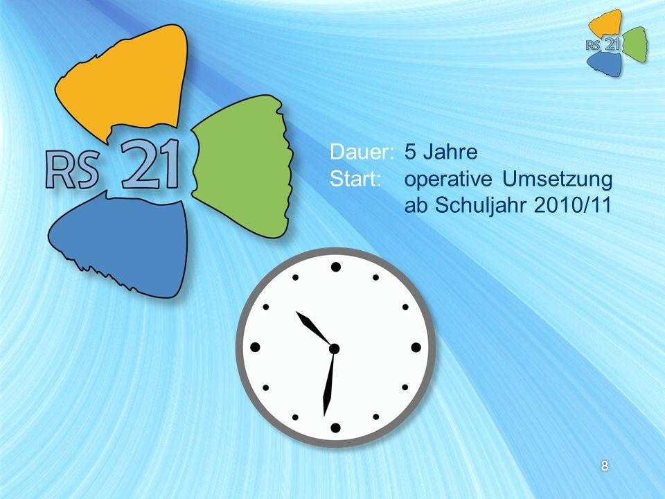 8 Dauer:5 Jahre Start:operative Umsetzung ab Schuljahr 2010/11